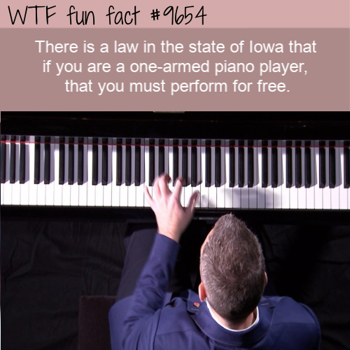 There is a law in the state of Iowa that if you are a one-armed piano player