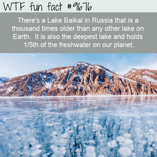 There's a Lake Baikal in Russia that is a thousand times older than any other lake on Earth.  It is also the deepest lake and holds 1/5th of the freshwater on our planet.