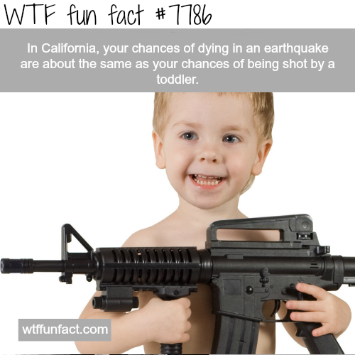 Toddlers kill the same number of people in California as earthquakes - WTF fun facts