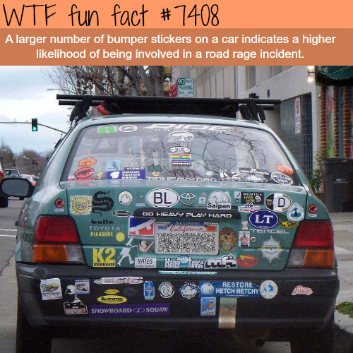 Too much bumper stickers on a car - FACTS
