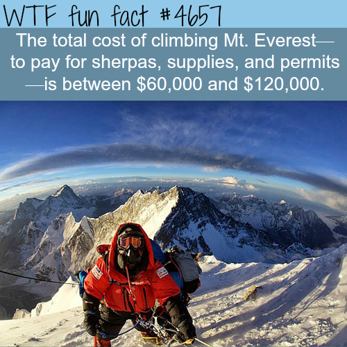 Total cost of climbing Mount Everest- WTF fun facts