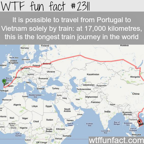 Longest train journey - WTF fun facts