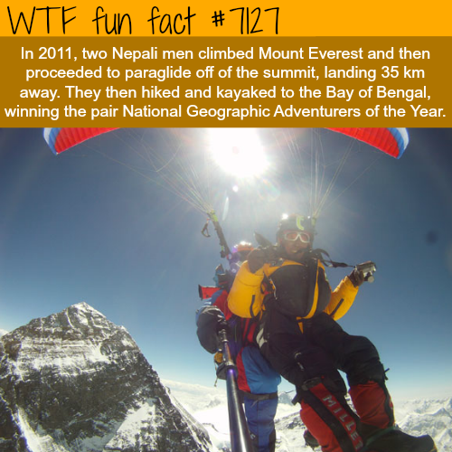 Two Nepali men paraglided off of the summit of Mount Everest - WTF fun facts