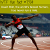 usain bolt never ran a mile wtf fun fact