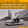 volkswagen created a car that gets 200 miles per gallon