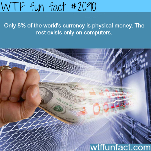 what percent of the money is cash? -  WTF fun facts