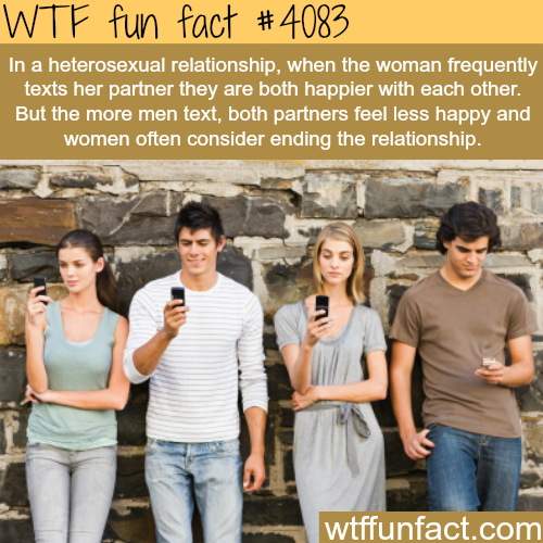 Who should text more in a relationship - WTF fun facts