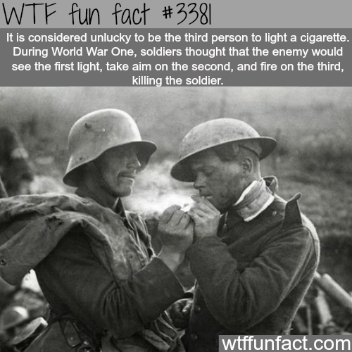 Why it's unlucky to light a cigarette third - WTF fun facts