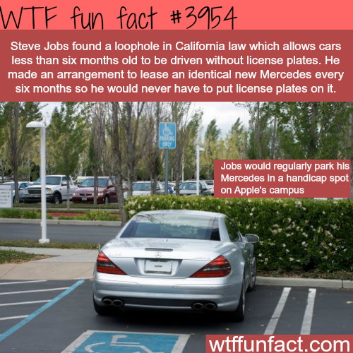 Why Steve Jobs' car never had a license plates - WTF fun facts