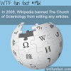 wikipedia banned the church of scientology
