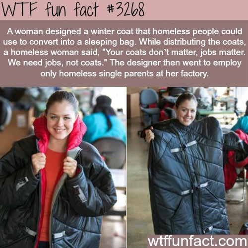 Winter coat for the homeless -  WTF fun facts