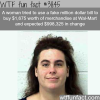 woman uses a fake million dollar bill to pay for goods