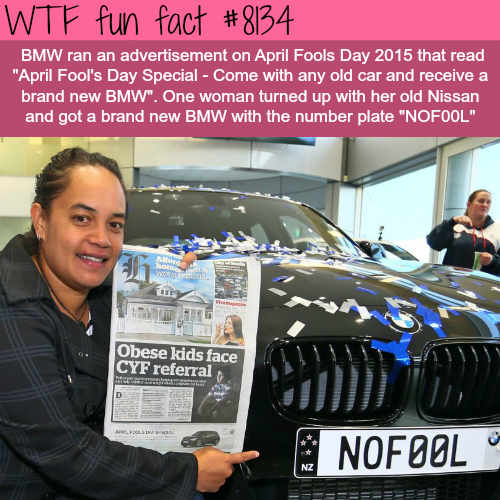 Woman wins BMW on April Fools Day - WTF fun facts