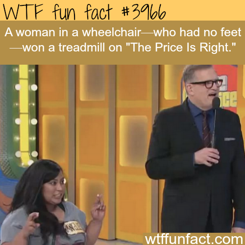 "Woman with no feet wins a treadmill on ""The Price Is Right"" - WTF fun facts"