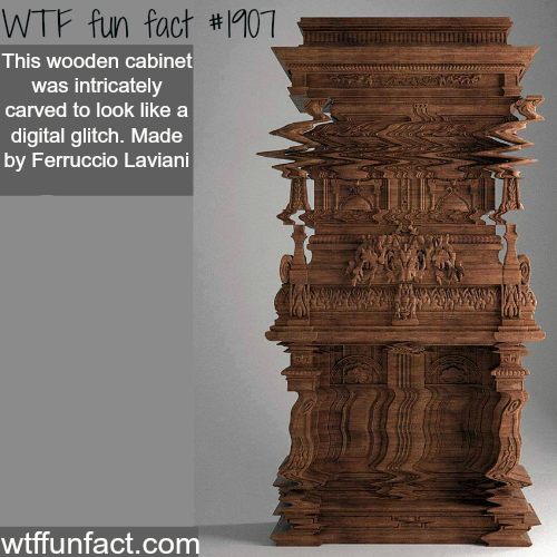 Wooden Cabinet looks digital -WTF fun facts