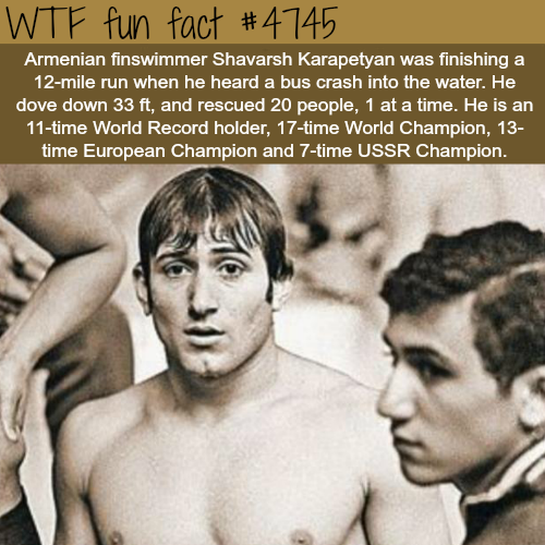 World Champion swimmer saves 20 people from drowning - WTF fun facts