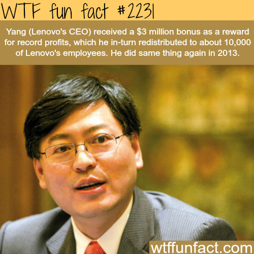 Yang (lenovo's CEO) people's fact - WTF fun facts
