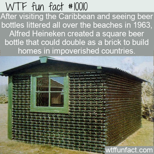wtf fun fact heineken square bottles