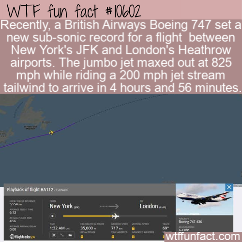 WTF Fun Fact - British Airways Speed Record