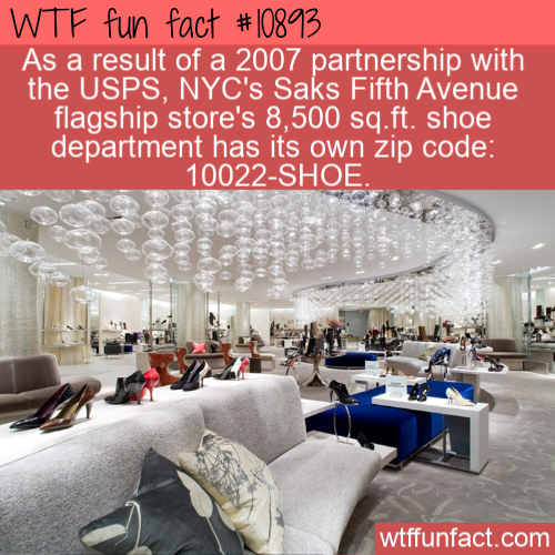 WTF Fun Fact - SAKS Shoe Department Zip Code