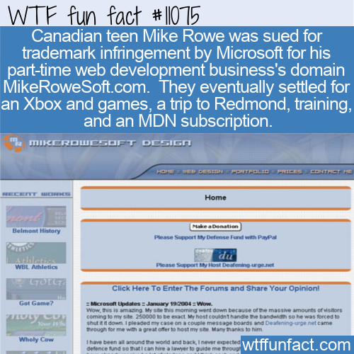 WTF Fun Fact - MikeRoweSoft.com