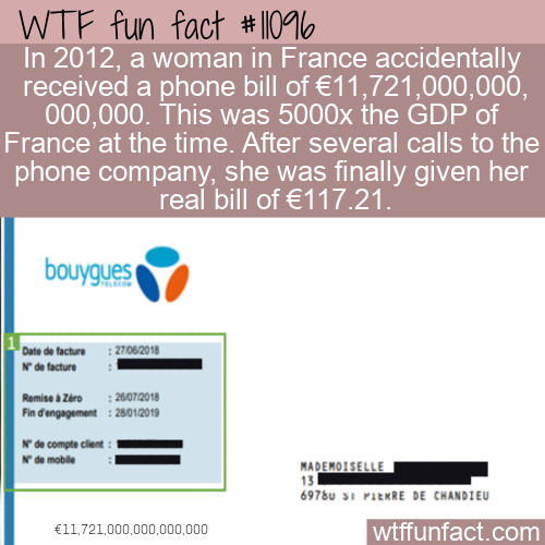 WTF Fun Fact - Million Billion Phone Bill