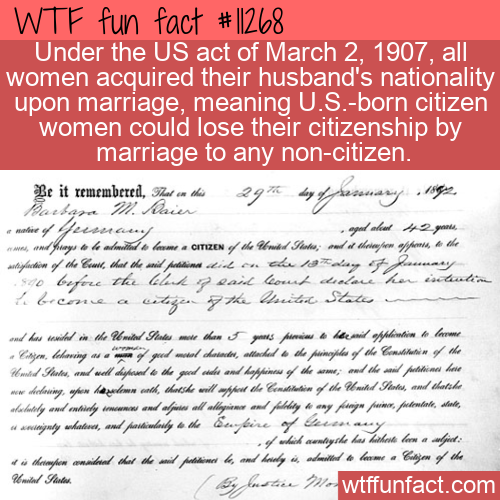 WTF Fun Fact - Citizenship Cancelled After Marriage