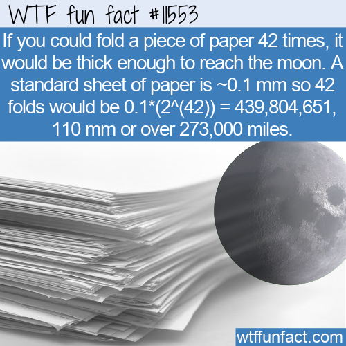WTF Fun Fact - How Many Paper Folds To Reach The Moon