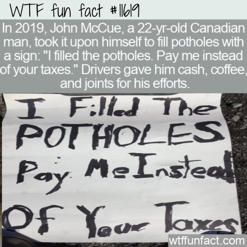 WTF Fun Fact - Canadian Fills Potholes Himself