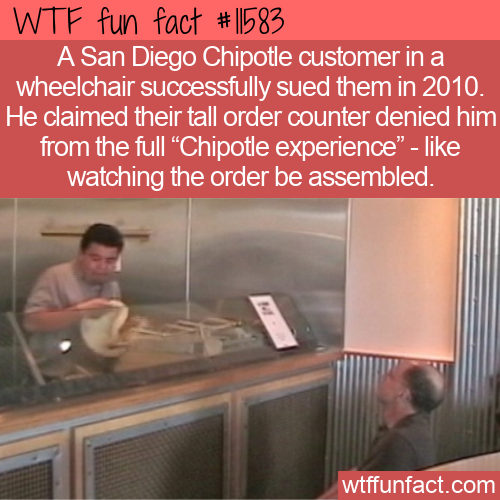 WTF Fun Fact - Chipotle Not Wheelchair Friendly