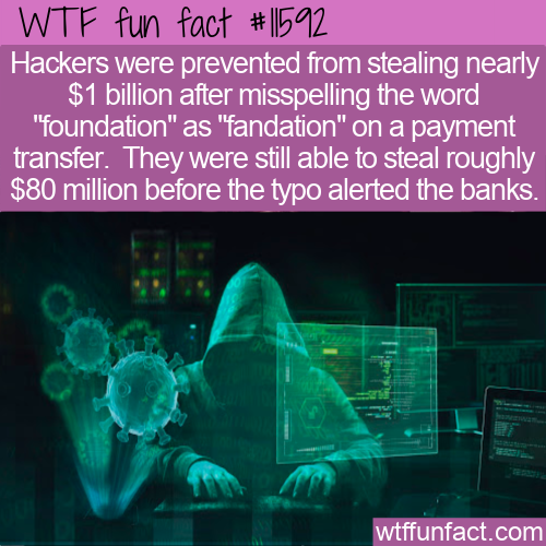 WTF Fun Fact - Hackers Typo Costs Them A Billion