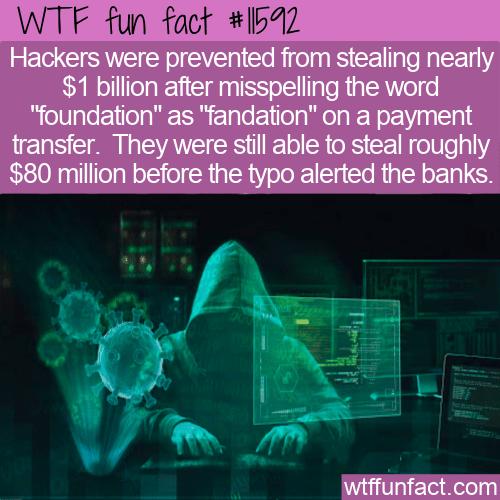 WTF Fun Fact - Hackers Typo Costs Them A Billion