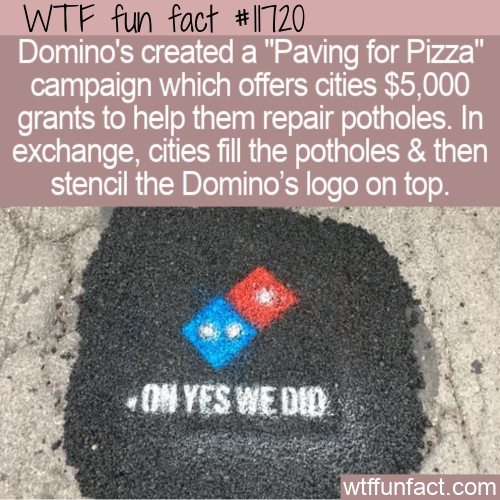 WTF Fun Fact - Paving For Pizza