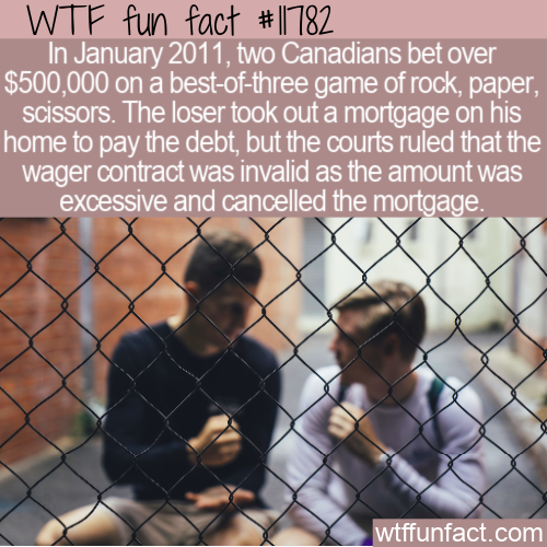 WTF Fun Fact - $500k Wage On Rock, Paper, Scissors