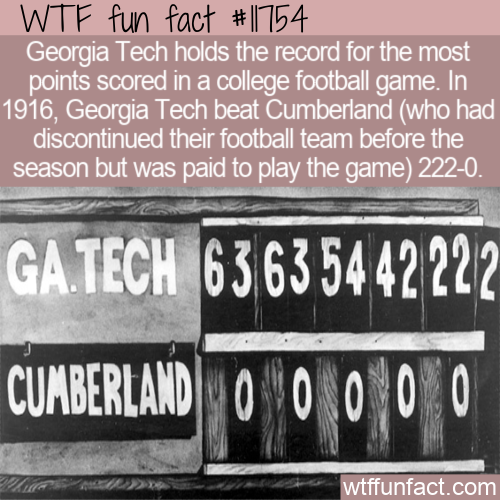 WTF Fun Fact - Georgia Tech 222-0