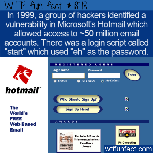 WTF Fun Fact - Hotmail Eh Password