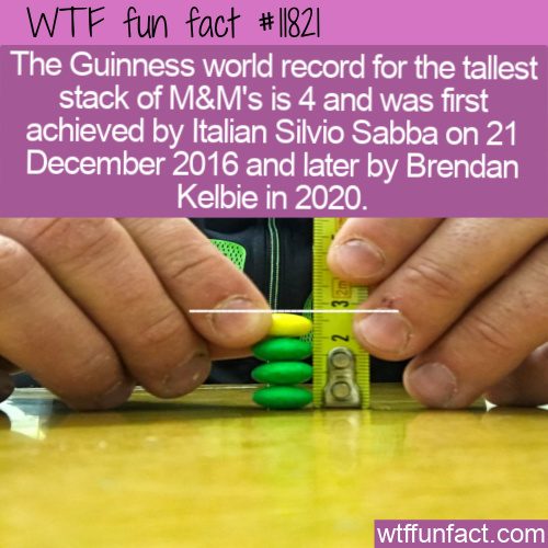 WTF Fun Fact - Most M&M's Stacked
