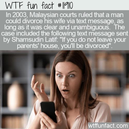 WTF Fun Fact - Divorce Via Text