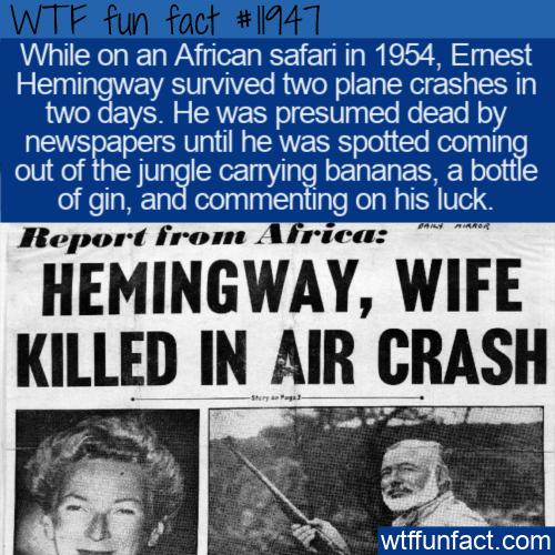 WTF Fun Fact - Hemingway Survived 2 Plane Crashes In 2 Days