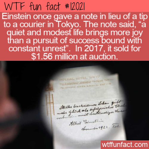 WTF Fun Fact - Einstein's Tip About A Modest Life