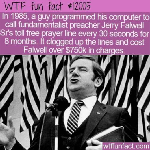 WTF Fun Fact - Not So Toll Free For Fundamentalist Preacher