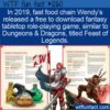 WTF Fun Fact –  Wendy's Free Fantasy Game