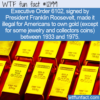 WTF Fun Fact – Illegal To Own Gold